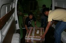 Loading the spare parts for shipment to the destination country